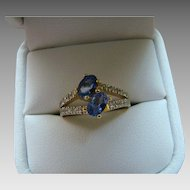 Diamond Tanzanite Bypass Ring - 10K Yellow Gold - Size 7