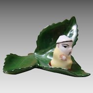 Herend- Card Holder – Chinese Mandarin/ Oriental Man On Leaf