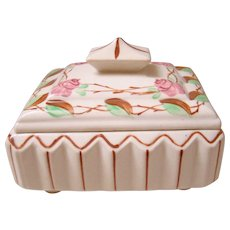 Blue Ridge Southern Potteries Footed Rose Step Box With Lid