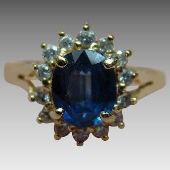 Sapphire And Diamond Halo Ring 14K Yellow Gold