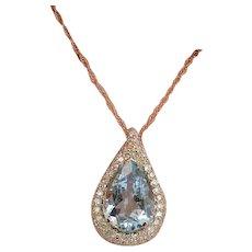 14K Halo Diamond And Aquamarine Rose Gold Pendant