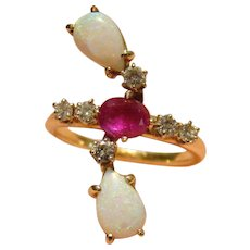 Opal, Ruby, Diamond Custom Made 14k Yellow Gold Ring 1.70 TCW - Size 8