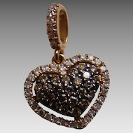 14K Champagne Brown And White Diamond Heart Shaped Pendant – Rose Gold .44 TCW