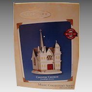 "Hallmark Ornament ""Country Church"" magic light fifth in series MIB"