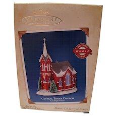 "Hallmark ornament ""Central Tower Church"" magic light eighth in series MIB"