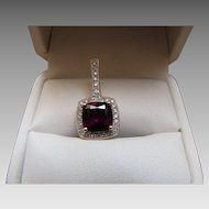 Raspberry Red Garnet And Diamond Pendant