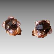 LeVian 14K Rose Gold Smokey Quartz And Diamond Earrings