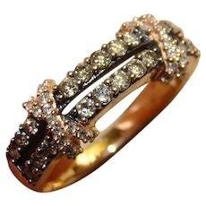 Levian ® 14k Chocolate Diamond & White Diamond X Split Rose Gold Ring Band
