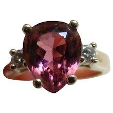 14K Pink Tourmaline  & .20 Diamond Ring  - Yellow Gold 2.95 TCW