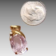 18K Morganite and Diamond Pendant - Yellow Gold