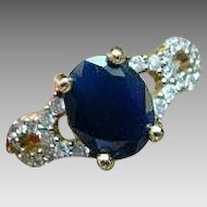 14K Sapphire and Diamond Ring - 14KT Yellow Gold