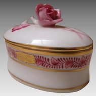 Beautiful Herend Hungary Trinket Box w/Pink Rose