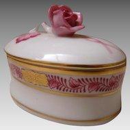 Beautiful Herend Hungary Trinket Box w/Pink Rose
