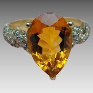 10K 5 Carat Maderia Citrine and Brown or Chocolate Colored Diamond Ring