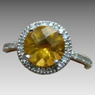 10k Citrine And Halo Diamond 10k Ring - Size 6.5