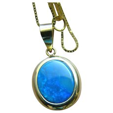 Black Opal 14K Pendant With 14K Box Chain Necklace Made In Italy