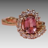 14K Pink Tourmaline & Diamond Ring - Yellow Gold - Arthritic Shank Expandable Ring