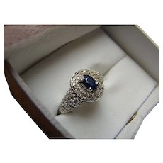 14K Sapphire And Pave Diamond Ring - 14k White Gold