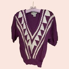 Hand Knit Nannell Sweater with Angora Trim