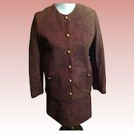 "Vintage Anne Klein ""MOD"" Suede Mini Skirt Suit"