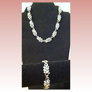 Vintage Signed Trifari Rhinestone and Enamel Necklace and Bracelet