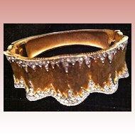 JOSEPH MAZER Gold Tone & Rhinestone Clamper Bracelet - Signed