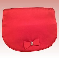 1950's Hot Pink Satin Evening Clutch with Rhinestone Studded Bow