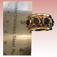 14K Gold and 10 Round Red Garnets Ring