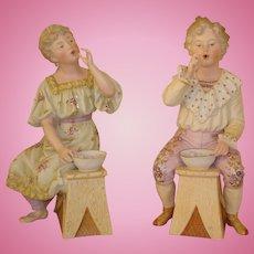 "Antique Heubach ""Blowing Bubbles"" Figurine Pair - Circa 1900, Large 12"""