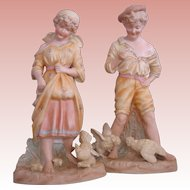 "Heubach Figurines-Boy and Girl with Chickens-Large 12"" pair, Circa 1900"