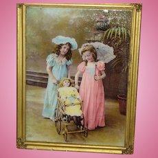 Antique Photograph - Girls with Doll - Ullman, circa 1900