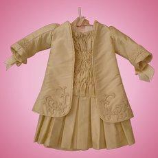Antique Doll Dress - Ivory Silk Dressmaker Quality