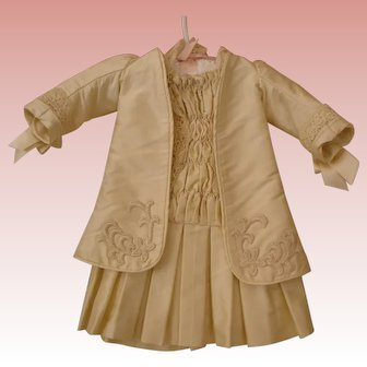 Antique Doll Dress - Ivory Silk Dressmaker Quality
