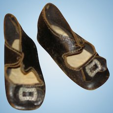 Antique Black Leather Doll Shoes - great condition 2 7/16 length.
