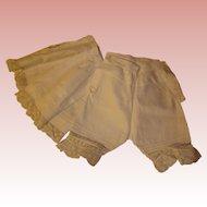 Antique Matching Slip and Pantaloons set - Birds eye lace, larger doll.