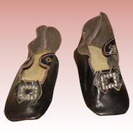 Antique Doll Shoes Black leather - German or French dolls.
