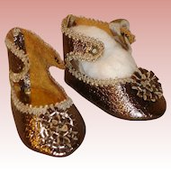Antique Doll Fancy Shoes - Ankle strap, gold metalic.