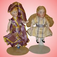 Antique All Bisque Dolls X 2.