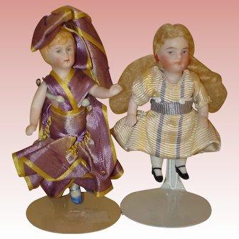 Antique All Bisque Dolls X 2