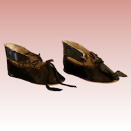 "Antique Doll Shoes - Black Oilcloth - 3 1/2""  Nice Quality."