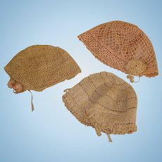 Antique Crochet Bonnets - all very nice condition.
