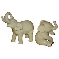 Lenox Baby Elephant Figurine Pair with Gold Leaf Accent.
