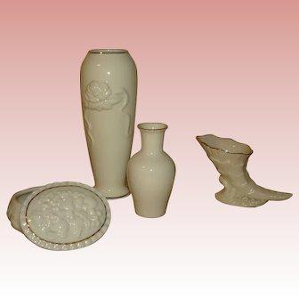 Lenox Figurine Set - Budvase, Mini Vases and Covered Dish.