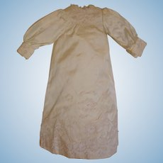 """Silk Dress for Antique Doll - Fully Lined, Seed Pearls - for 18"""" Doll."""