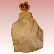 "Heubach Baby Sleep Eye  15""-  Rare Mold  #7518! Doll with Original Trunk and Extra Clothing/shoes Also."