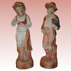 Heubach Pair of Figurines-Monkey Boy and Girl 12 1/2""