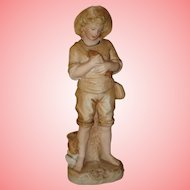 "Heubach Little Fisher Boy Figurine 8"" Tall - Great curio for your beach home!"