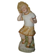 """Heubach Little Girl With Seashell Figurine - 9 1/2"""" Tall.  Check out her little Brother Boy With Fish!"""