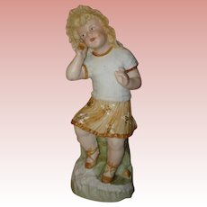"Heubach Little Girl With Seashell Figurine - 9 1/2"" Tall.  Check out her little Brother Boy With Fish!"