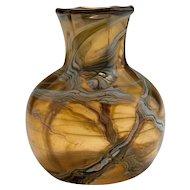 Vintage Silver Oxide Swirl Vase, Signed Studio Glass